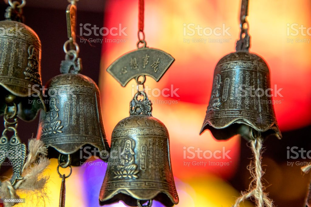 hanging bells for praying and blessing stock photo