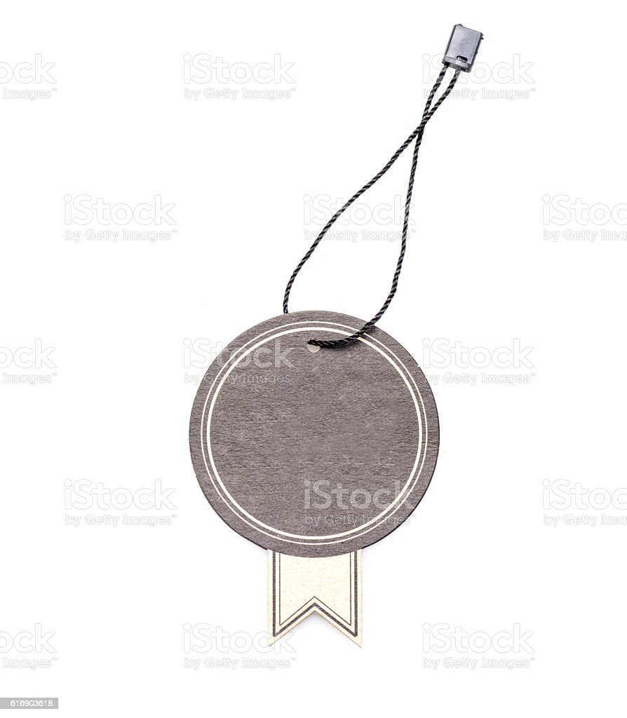 Hanging blank tag stock photo