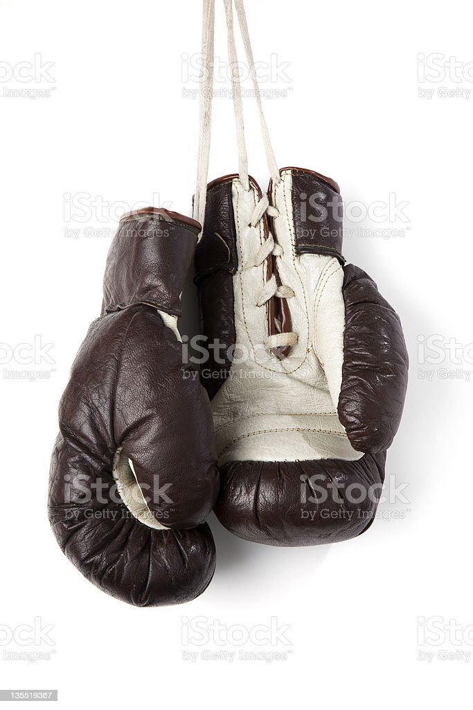 Hanging boxing gloves royalty-free stock photo