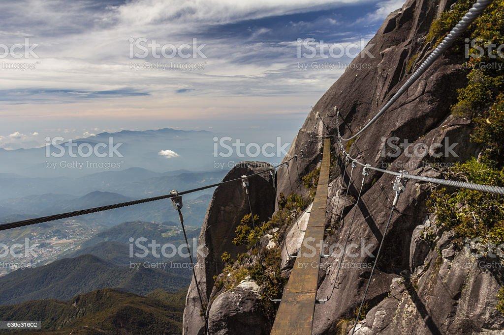 Hanging bridge in Mount Kinabalu Sabah Malaysia stock photo