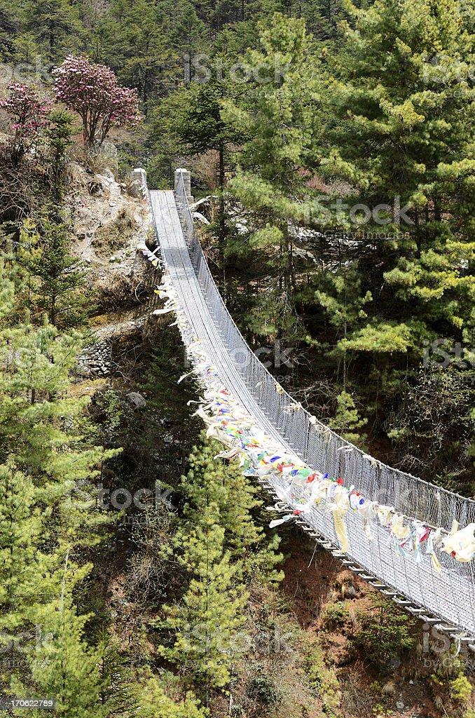 Hanging bridge over the river Dudh Kosi,Nepal,Everest region royalty-free stock photo