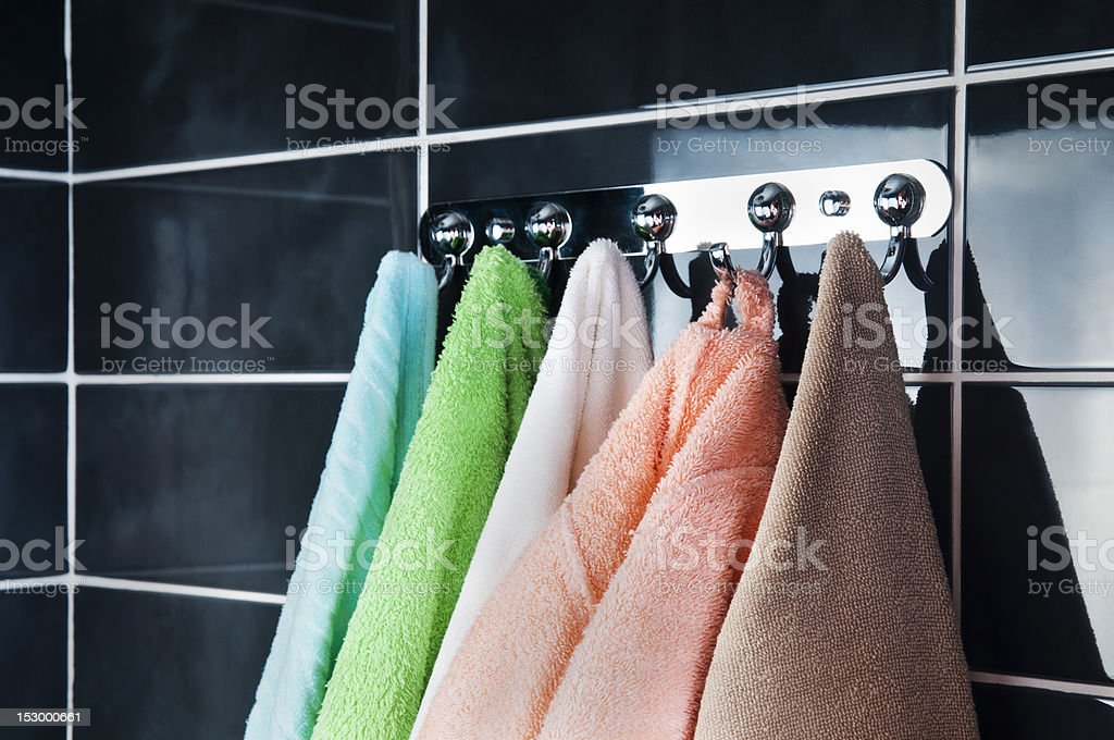 hanging bright towels royalty-free stock photo