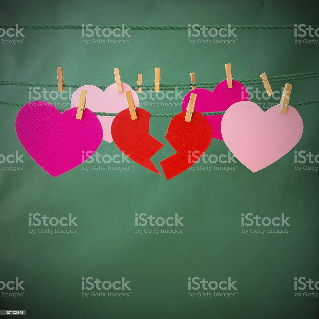 Hanging broken heart royalty-free stock photo