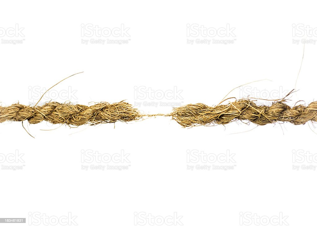 Hanging by a Thread rope stock photo