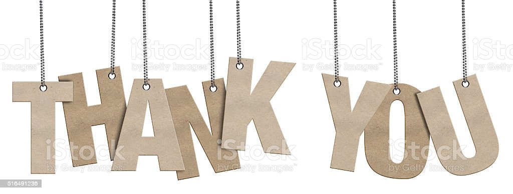 THANK YOU Hanging Cardboard word (Clipping Path) stock photo