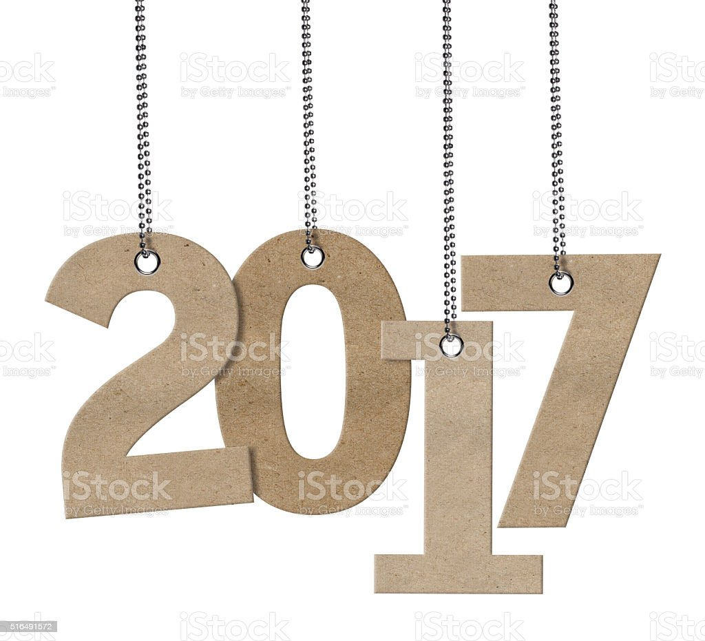 2017 Hanging Cardboard word (Clipping Path) stock photo