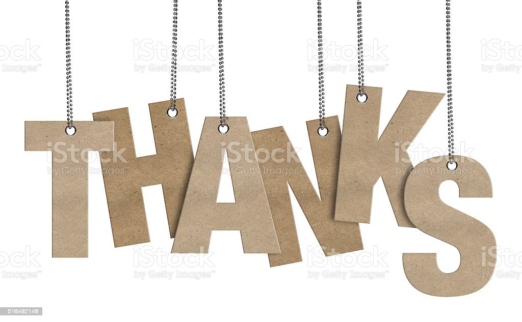 THANKS Hanging Cardboard word (Clipping Path) stock photo