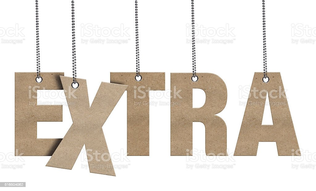 EXTRA Hanging Cardboard word (Clipping Path) stock photo