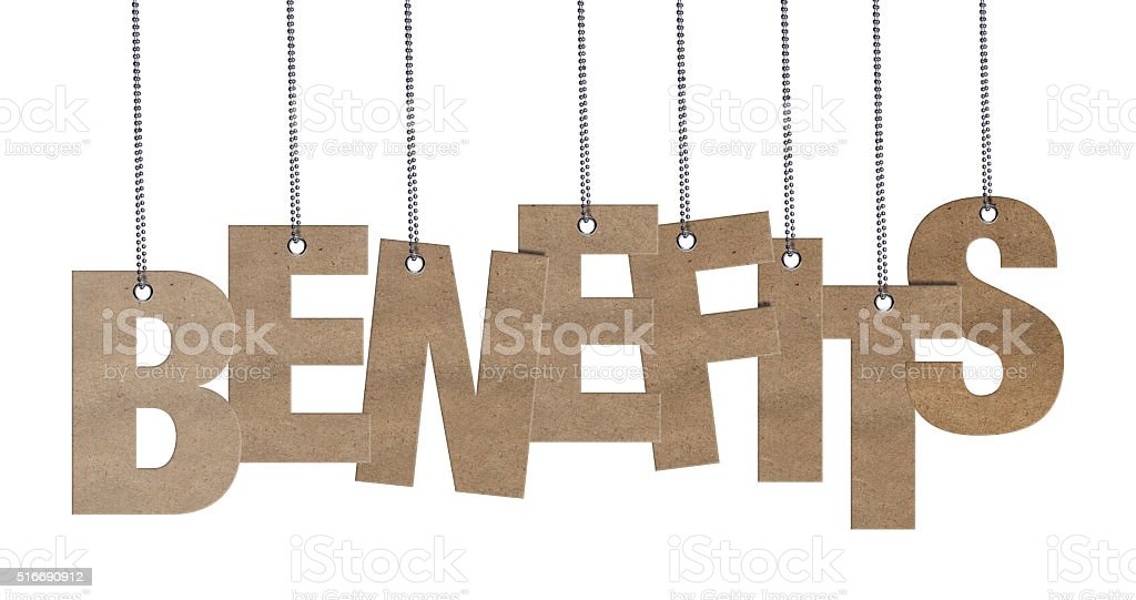 BENEFITS -  Hanging Cardboard word (Clipping Path) stock photo
