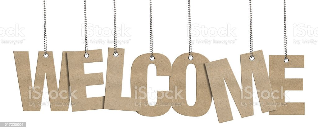 WELCOME -  Hanging Cardboard word (Clipping Path) stock photo