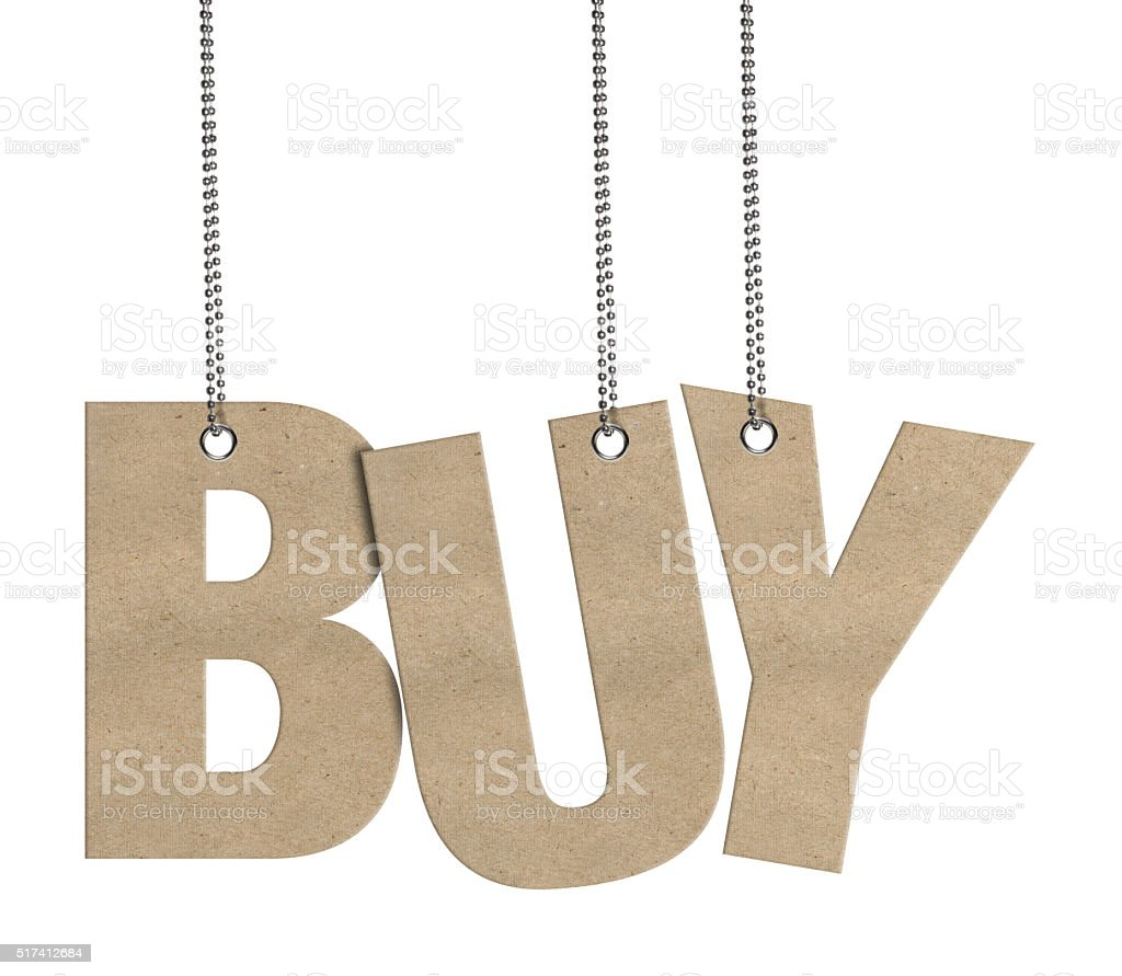 BUY -  Hanging Cardboard word (Clipping Path) stock photo