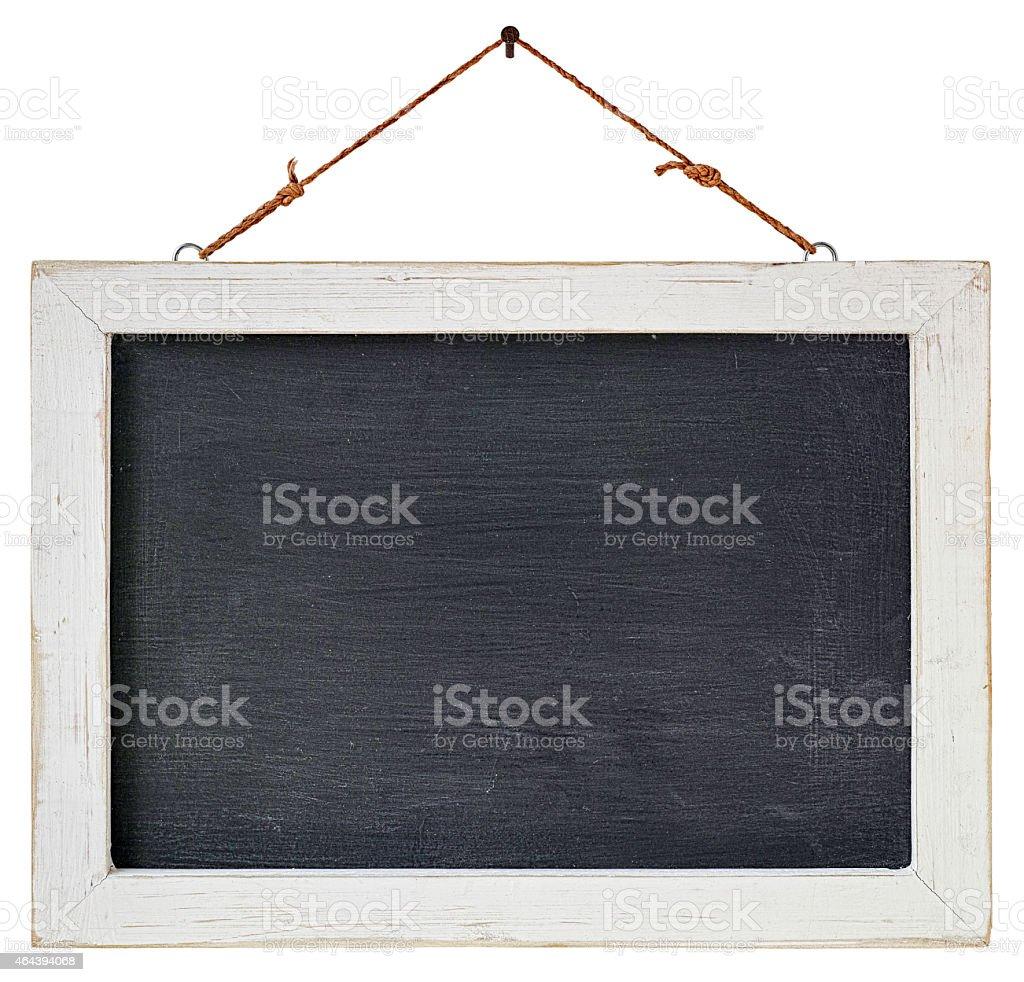 hanging kreide board mit eine verwitterte weißem holzrahmen, Moderne