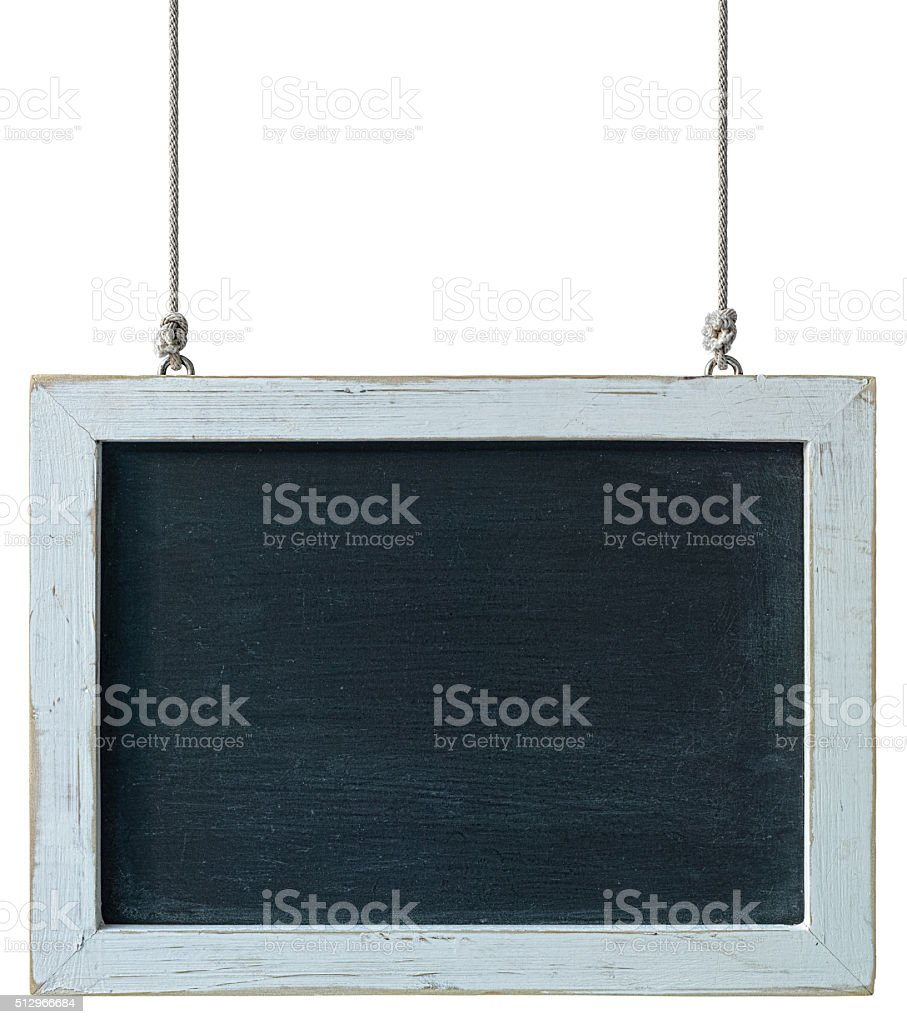 Hanging chalk board with a weathered white wood frame. stock photo