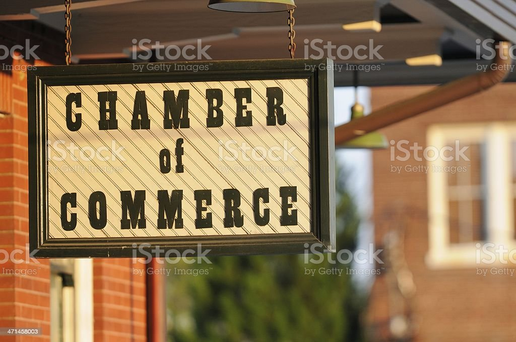 Hanging chamber of commerce sign stock photo