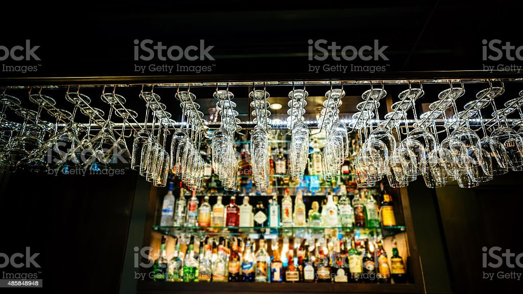 Hanging champagne glasse stock photo