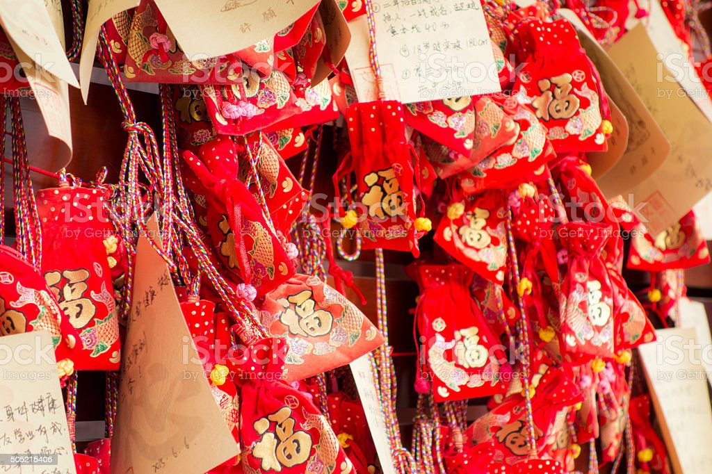 Hanging Chinese traditional Sachets and wishing cards stock photo
