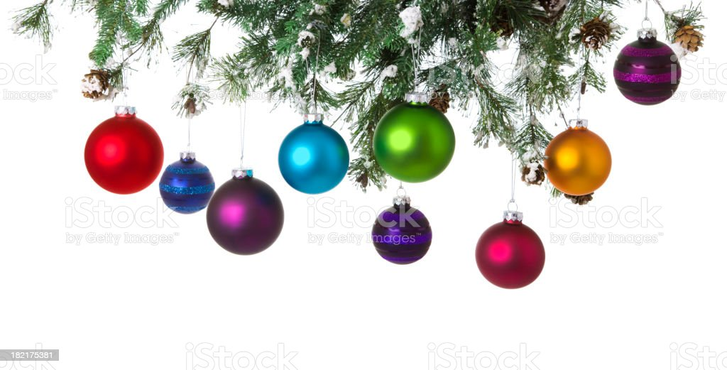 Hanging Christmas Baubles royalty-free stock photo