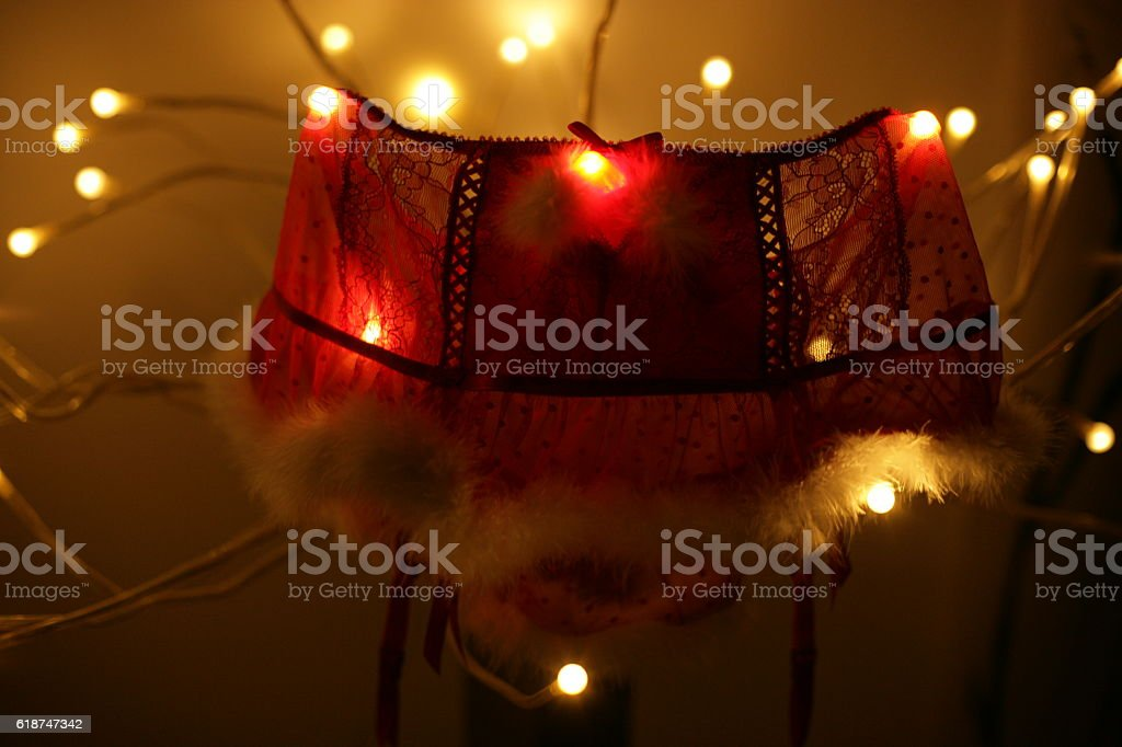 Hanging Christmas lingerie stock photo