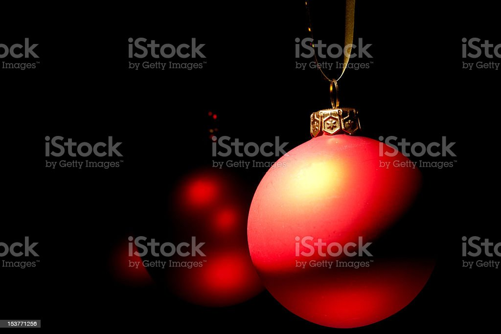 Hanging Christmas red baubles royalty-free stock photo