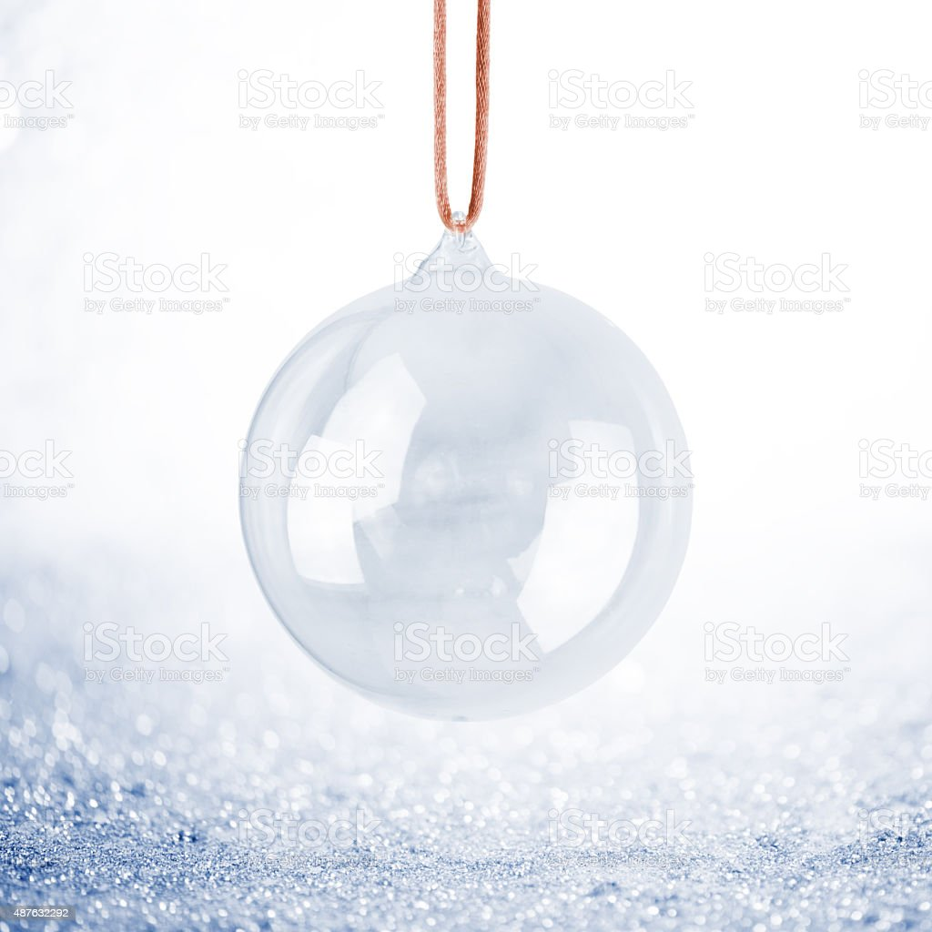 Hanging Christmas Transparent Bauble stock photo