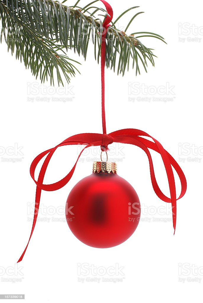 hanging Christmas tree ornament with red bow royalty-free stock photo