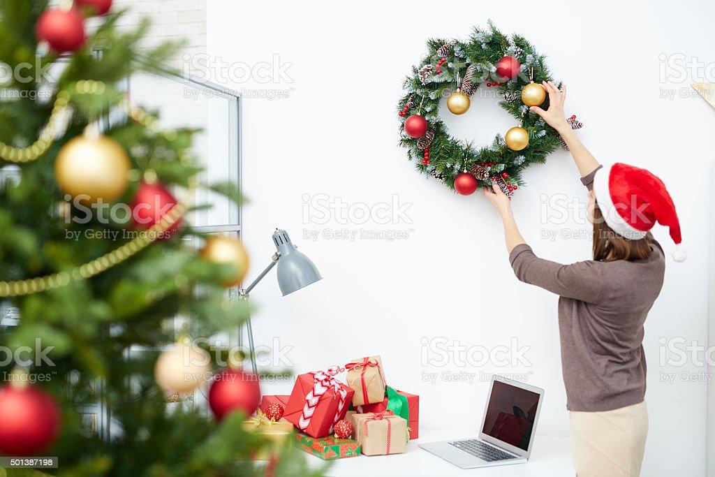 Hanging Christmas wreath stock photo