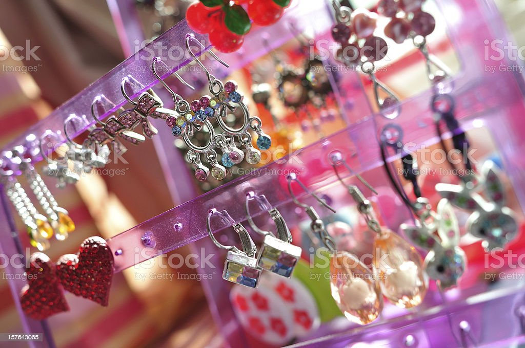 Hanging Colorful Earring Collection royalty-free stock photo