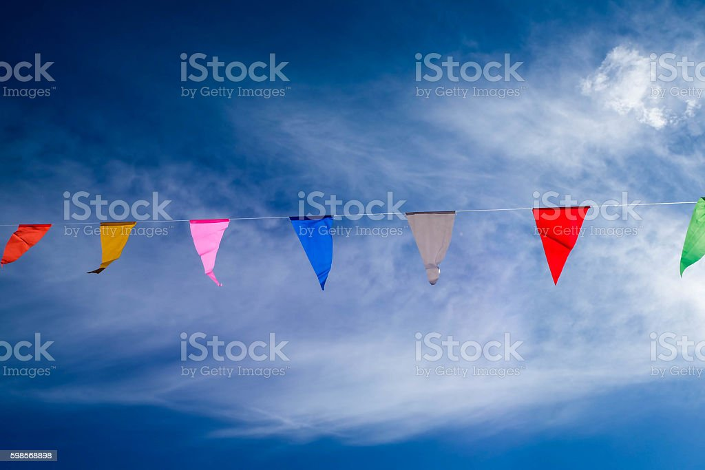 Hanging colorful flag royalty-free stock photo
