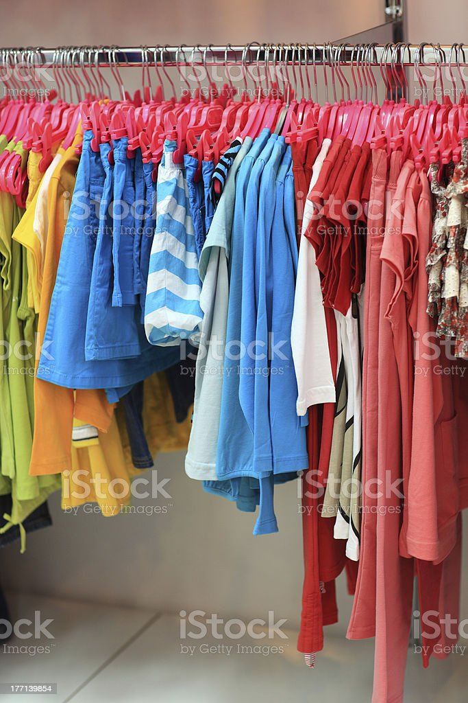 Hanging colourful clothes stock photo