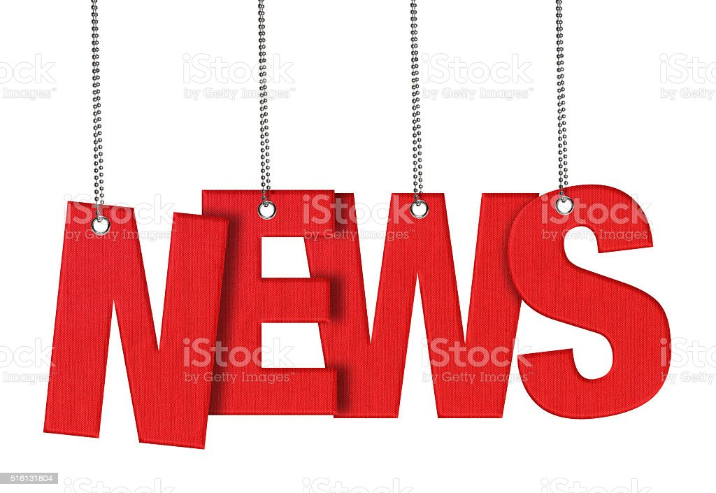 NEWS - Hanging Fabric word (Clipping Path) stock photo
