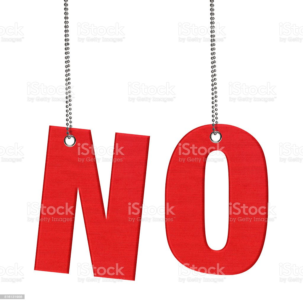 NO - Hanging Fabric word (Clipping Path) stock photo