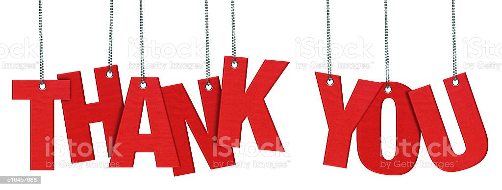 THANK YOU Hanging Fabric word (Clipping Path) stock photo