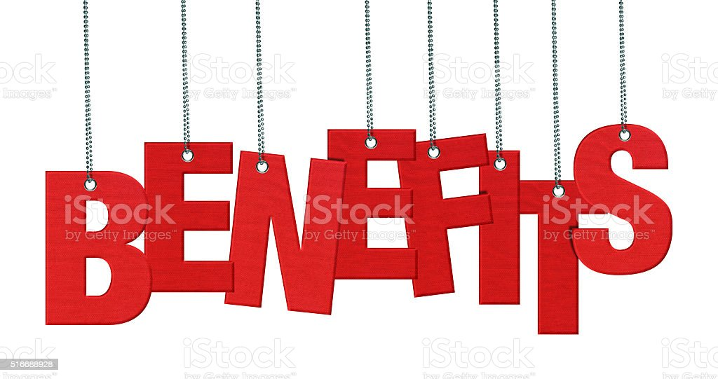 BENEFITS - Hanging Fabric word (Clipping Path) stock photo