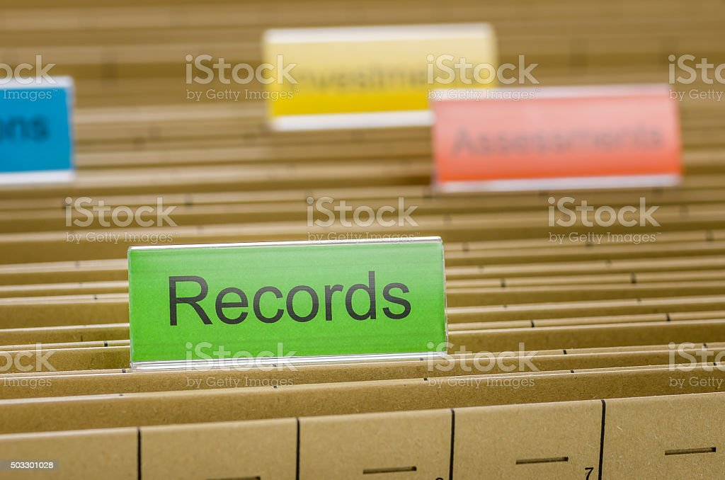 Hanging file folder labeled with Records stock photo