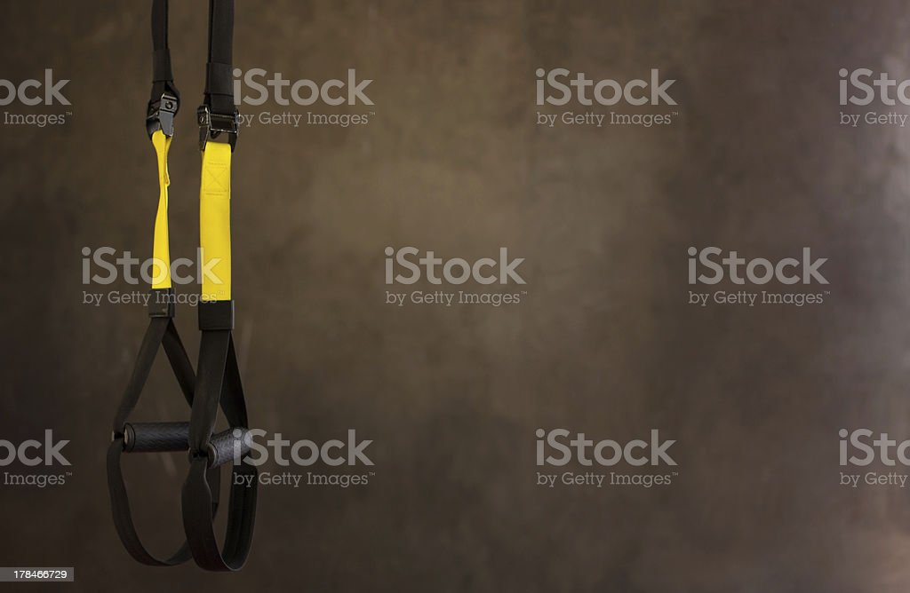 Hanging fitness strap, TRX with copy space stock photo