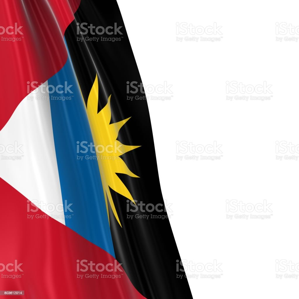 Hanging Flag of Antigua and Barbuda - 3D Render of the Antiguan and Barbudan Flag Draped over white background stock photo