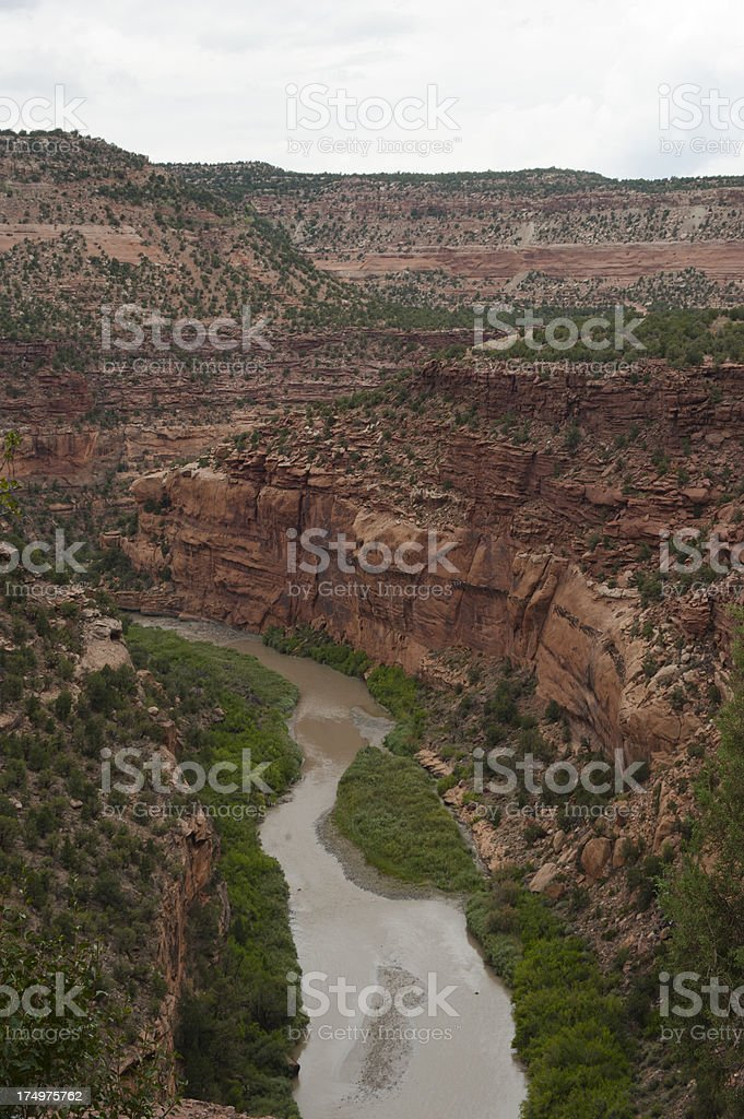Hanging Flume Over Dolores River royalty-free stock photo