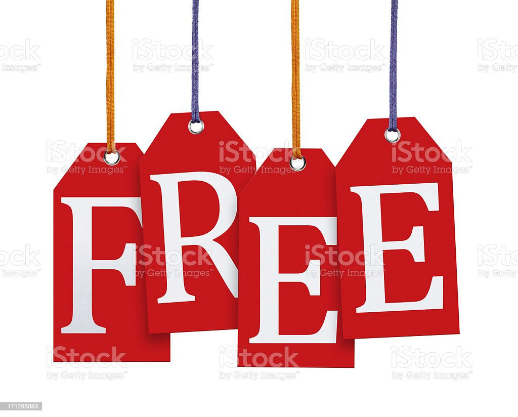 Hanging Free Tags (Clipping Path) stock photo
