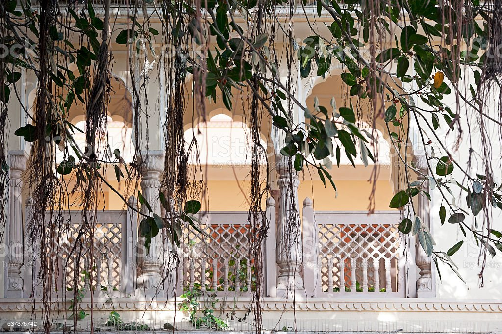 Hanging gardens and arches, Rajasthan, India stock photo