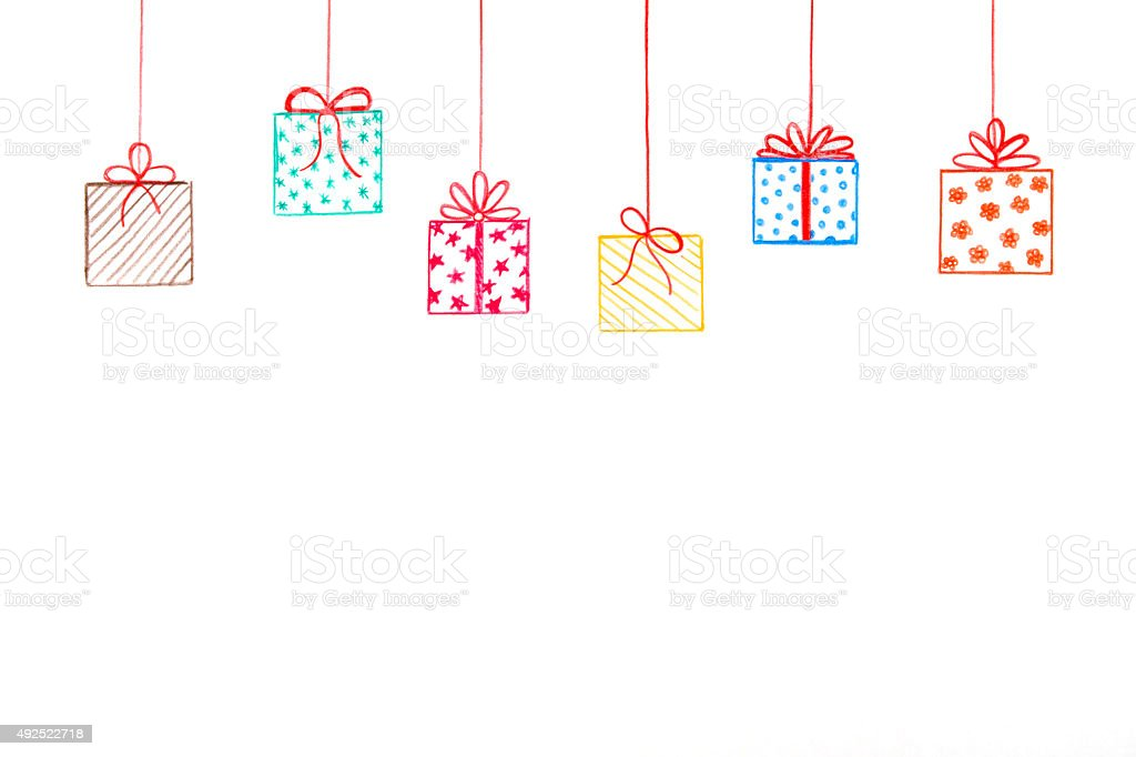 Hanging Gifts with Scribbled Bows vector art illustration
