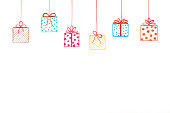 Hanging Gifts with Scribbled Bows