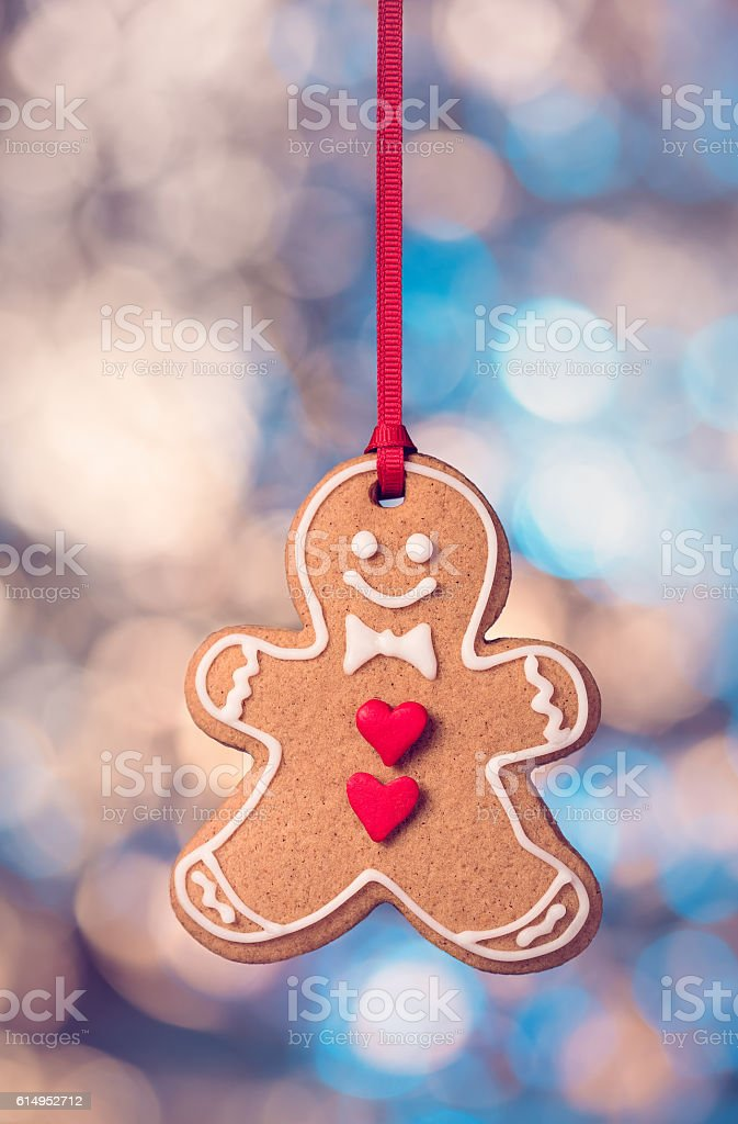 Hanging Gingerbread cookie stock photo