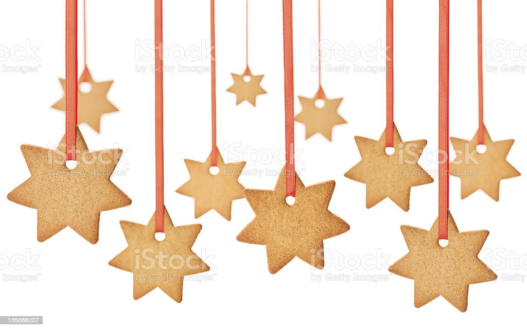 Hanging Gingerbread Hearts stock photo