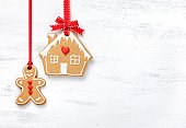 Hanging Gingerbread Man and House Cookies