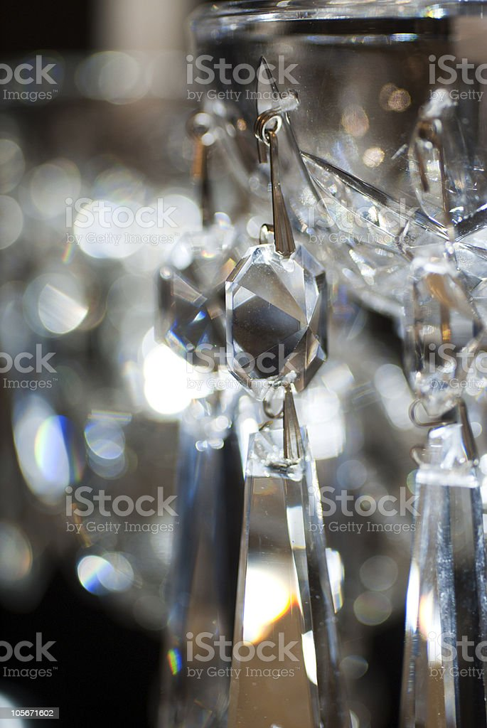 Hanging glass crystals stock photo