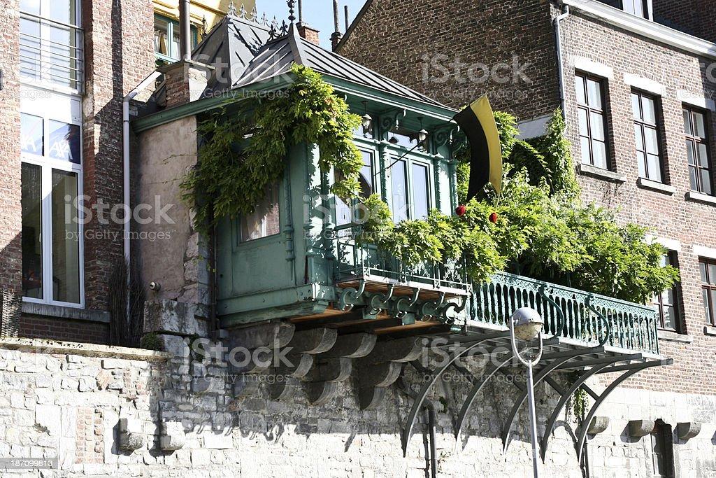 Hanging Green Balcony on ancient building Namur Wallonia Belgium stock photo