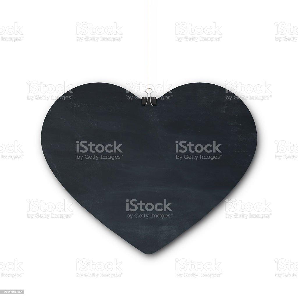 Hanging heart blackboard sign stock photo