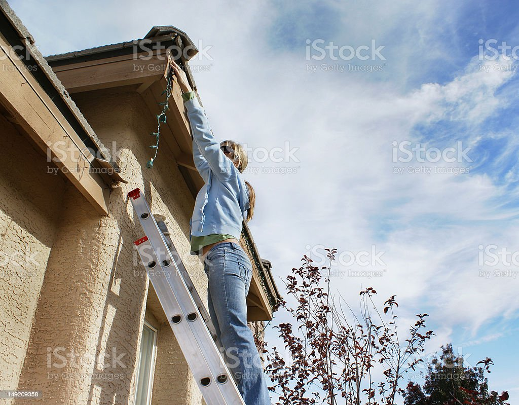 Hanging Holiday Lights stock photo