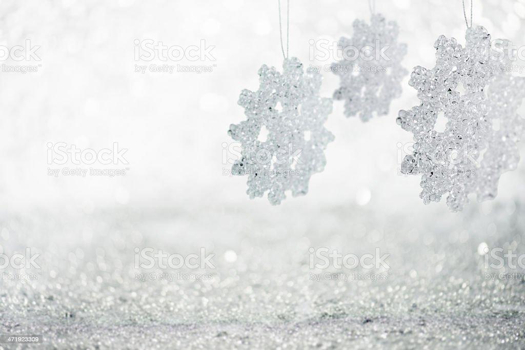 Hanging Icy Snowflakes stock photo
