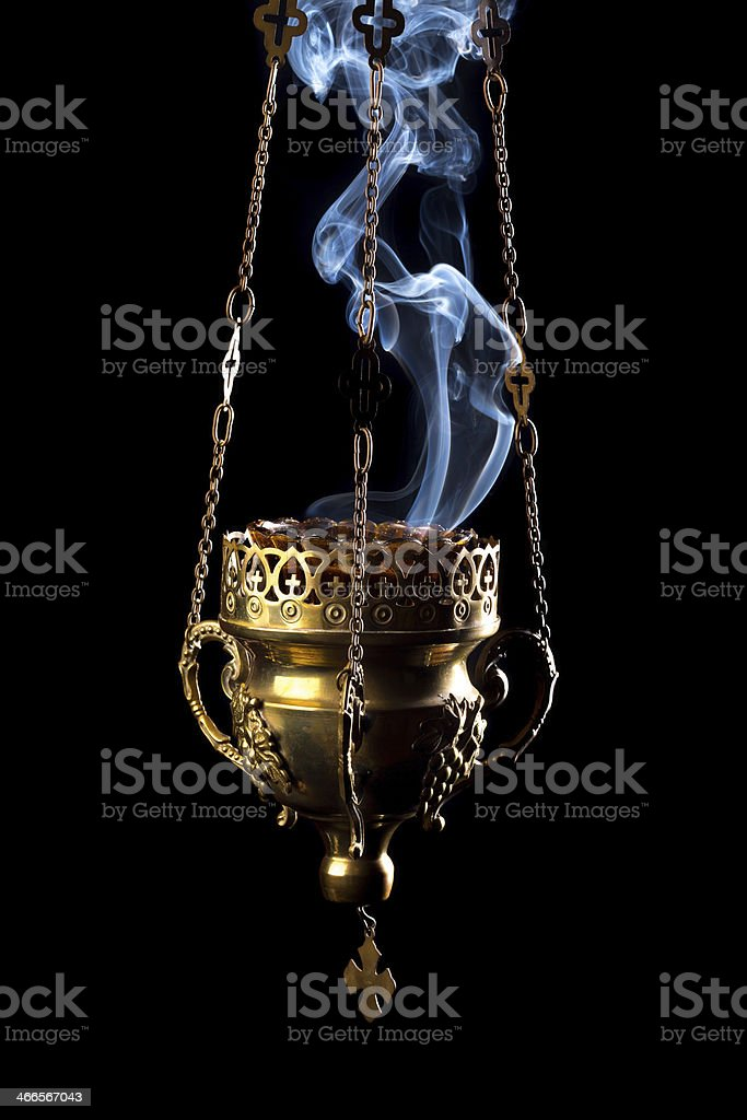Hanging incense burner stock photo